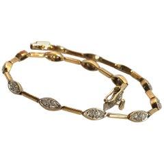 Vintage Diamond, 18 Carat Gold and Platinum Bracelet