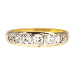 Vintage Diamond, 18 Carat Gold and Platinum Seven-Stone Band