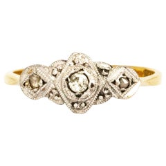 Vintage Diamond, 18 Carat Gold and Platinum Three-Stone Ring
