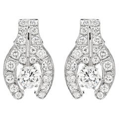 Vintage Diamond 18 Carat White Gold Stud Earrings, Circa 1950's