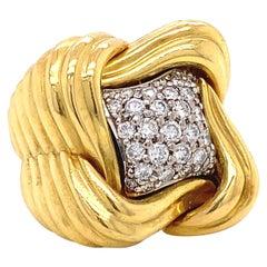 Vintage Diamond 18 Karat Gold Cocktail Ring
