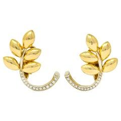 Vintage Diamond 18 Karat Two-Tone Gold Wheat Earrings