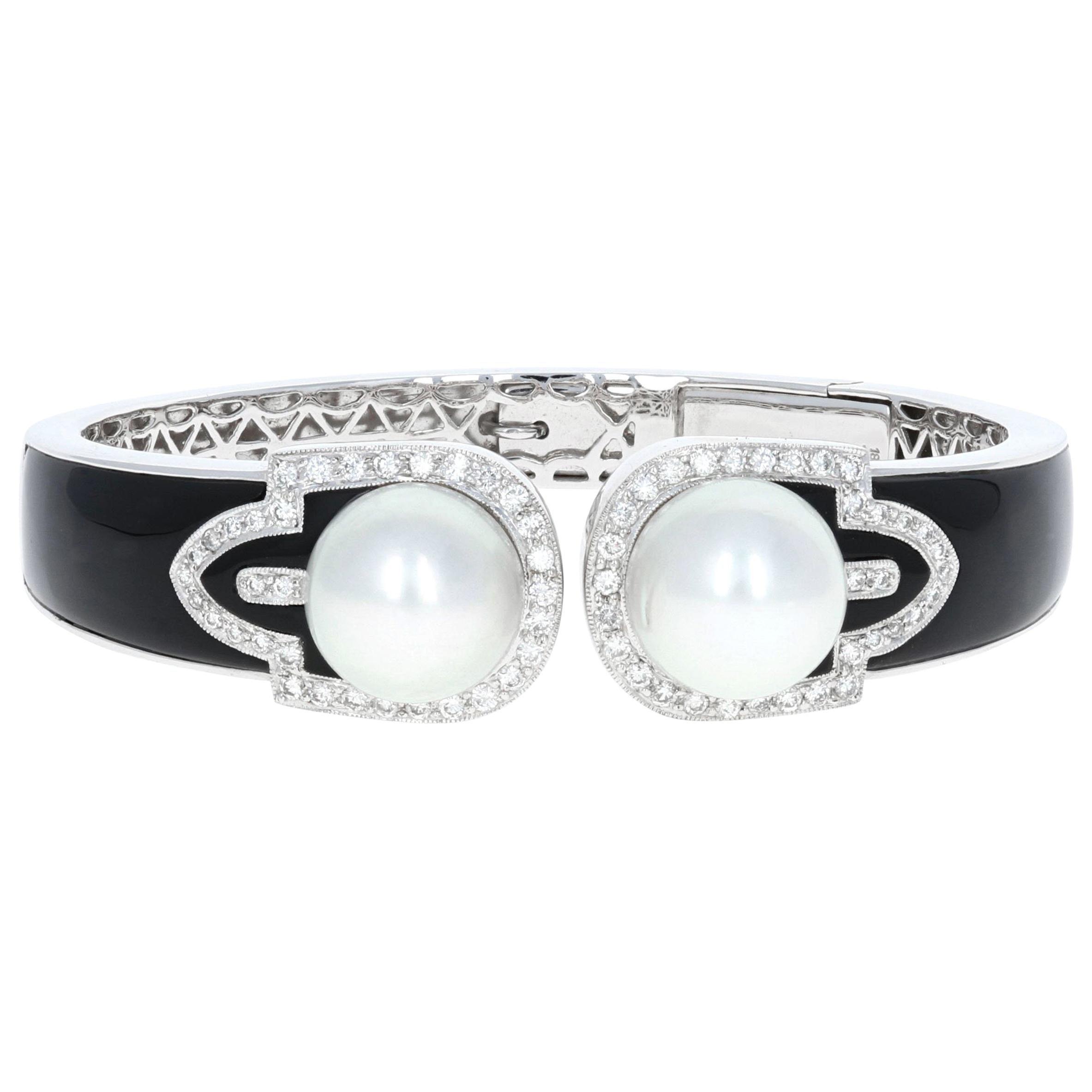 Vintage Diamond, 18 Karat White Gold and Pearl Bangle Cuff with Onyx