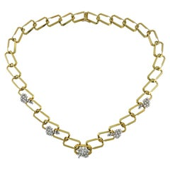 Vintage Diamond 18k Yellow Gold Chain Necklace Estate Jewelry