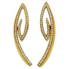 Vintage Diamond 18k Yellow Gold Earrings