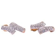 Vintage Diamond 9 Carat Gold and Platinum Stud Earrings