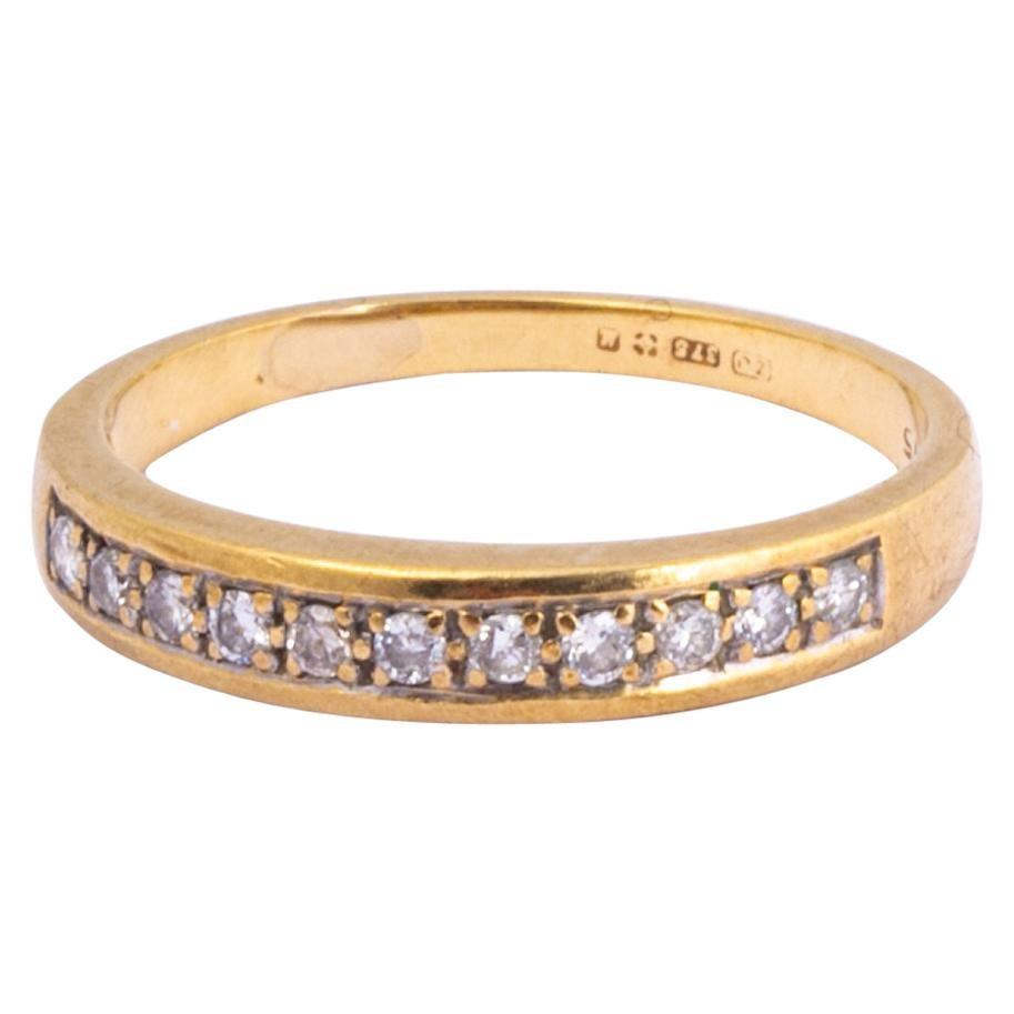 Vintage Diamond 9 Carat Gold Half Eternity Band