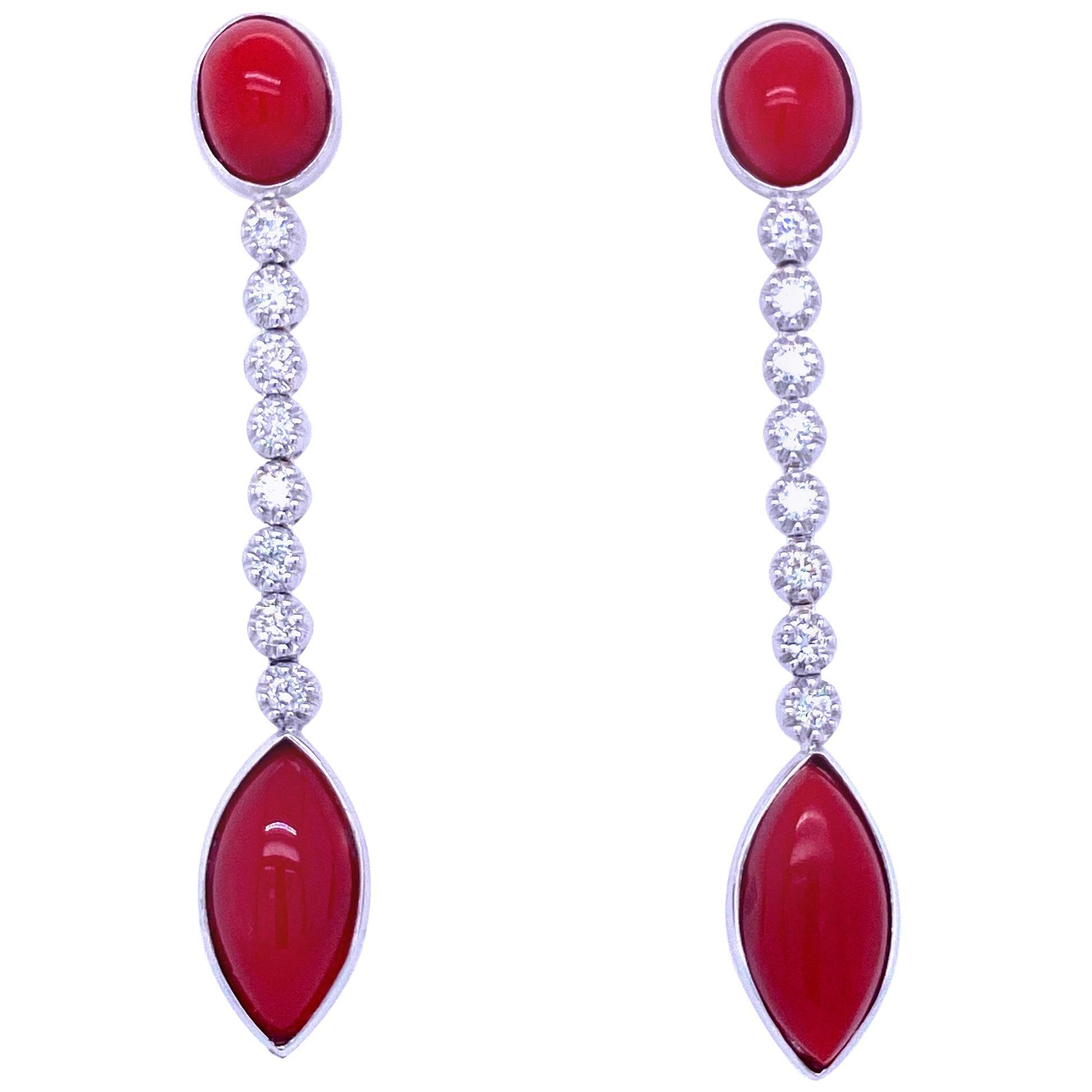 Vintage Diamond Aka Coral Gold Drop Earrings