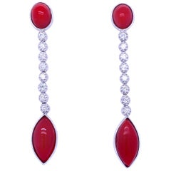 Vintage Diamond Aka Coral Gold Drop Earrings