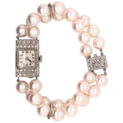 Vintage Diamond Akoya Pearl Watch Bracelet 18 Karat Gold Certified