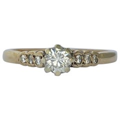 Vintage Diamond and 9 Carat Gold Solitaire Ring