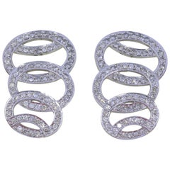 Vintage Diamond and 14 Karat White Gold Earrings