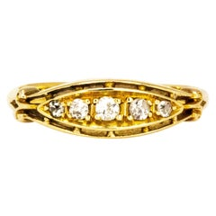 Vintage Diamond and 18 Carat Gold Five Stone Band