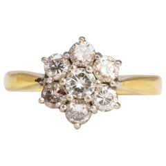 Vintage Diamond and 18 Carat Gold Cluster Ring