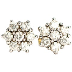 Vintage Diamond and 18 Carat Gold Cluster Stud Earrings