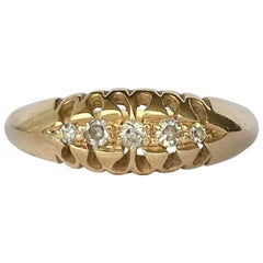 Vintage Diamond and 18 Carat Gold Five-Stone Band