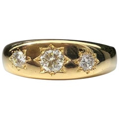 Vintage Diamond and 18 Carat Gold Gypsy Ring