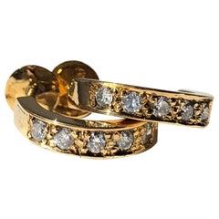 Vintage Diamond and 18 Carat Gold Half Hoop Screw Back Stud Earrings