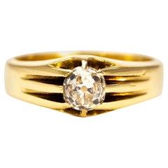 Vintage Diamond and 18 Carat Gold Signet Ring