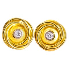 Vintage Diamond and 18 Carat Gold Swirl Earrings