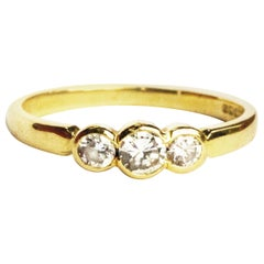 Vintage Diamond and 18 Carat Gold Three-Stone