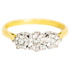 Vintage Diamond and 18 Carat Gold Three-Stone Ring