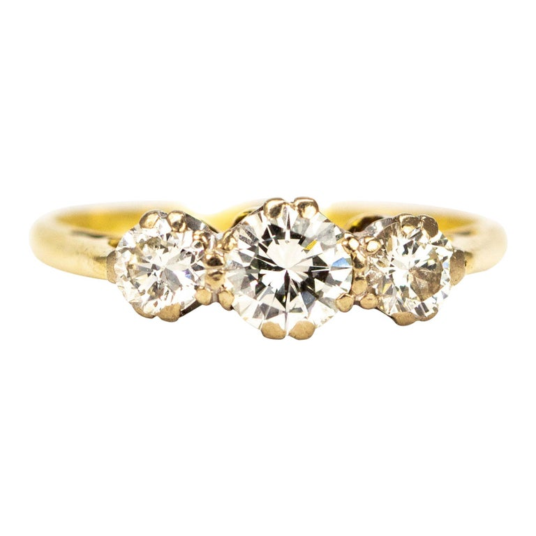 Vintage Diamond and 18 Carat Gold Three-Stone Ring For Sale