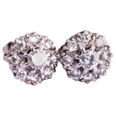Vintage Diamond and 18 Carat White Gold Cluster Stud Earrings