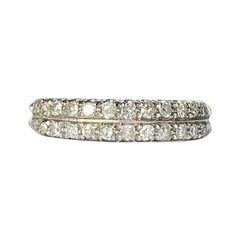 Vintage Diamond and 18 Carat White Gold Double Row Half Eternity Band