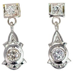 Vintage Diamond and 18 Carat White Gold Drop Earrings