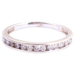 Vintage Diamond and 18 Carat White Gold Half Eternity Band