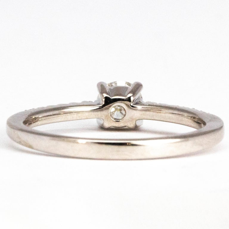 Modern Vintage Diamond and 18 Carat White Gold Solitaire Ring For Sale