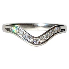 Vintage Diamond and 18 Carat White Gold Waved Band