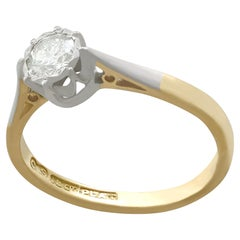 Diamond and Yellow Gold Platinum Set Solitaire Engagement Ring