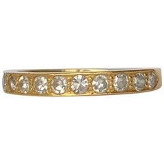 Vintage Diamond and 22 Carat Gold Half Eternity Band
