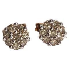 Vintage Diamond and 9 Carat Gold Cluster Stud Earrings