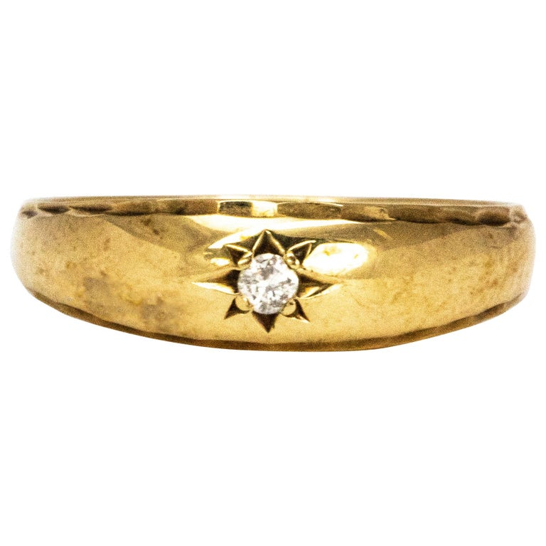 Vintage Diamond and 9 Carat Gold Gypsy Ring