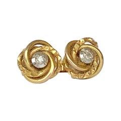 Vintage Diamond and 9 Carat Gold Knot Stud Earrings