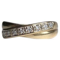 Vintage Diamond and 9 Carat Gold Twist Band
