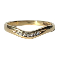 Vintage Diamond and 9 Carat Gold Waved Band