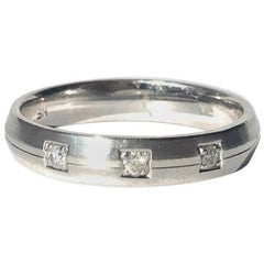 Vintage Diamond and 9 Carat White Gold Band