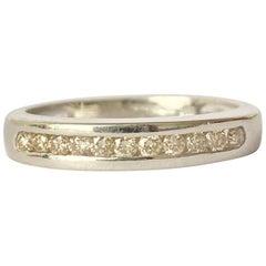 Vintage Diamond and 9 Carat White Gold Half Eternity Band