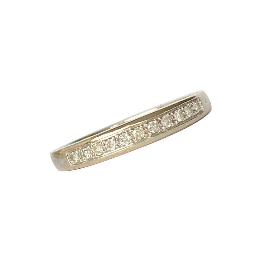 Vintage Diamond and 9 Carat White Gold Half Eternity Band