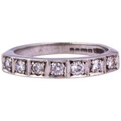 Vintage Diamond and 9 Carat White Gold Half Eternity