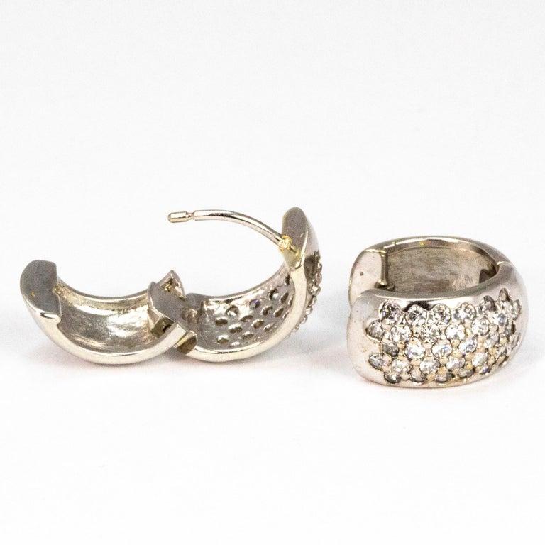 Modern Vintage Diamond and 9 Carat White Gold Hoop Earrings