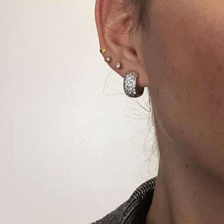 Vintage Diamond and 9 Carat White Gold Hoop Earrings In Good Condition In Chipping Campden, GB