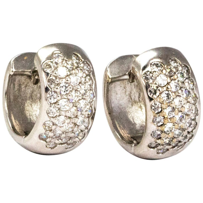 Vintage Diamond and 9 Carat White Gold Hoop Earrings