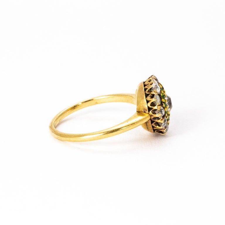 Old European Cut  Vintage Diamond and Demantoid Garnet 18 Karat Gold Cluster Ring For Sale
