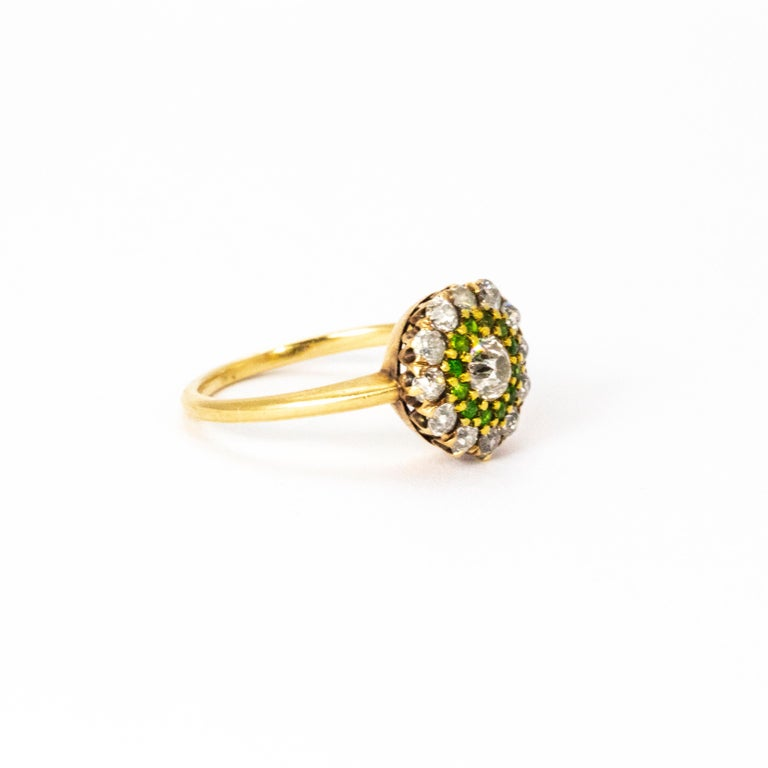 Vintage Diamond and Demantoid Garnet 18 Karat Gold Cluster Ring In Excellent Condition For Sale In Chipping Campden, GB