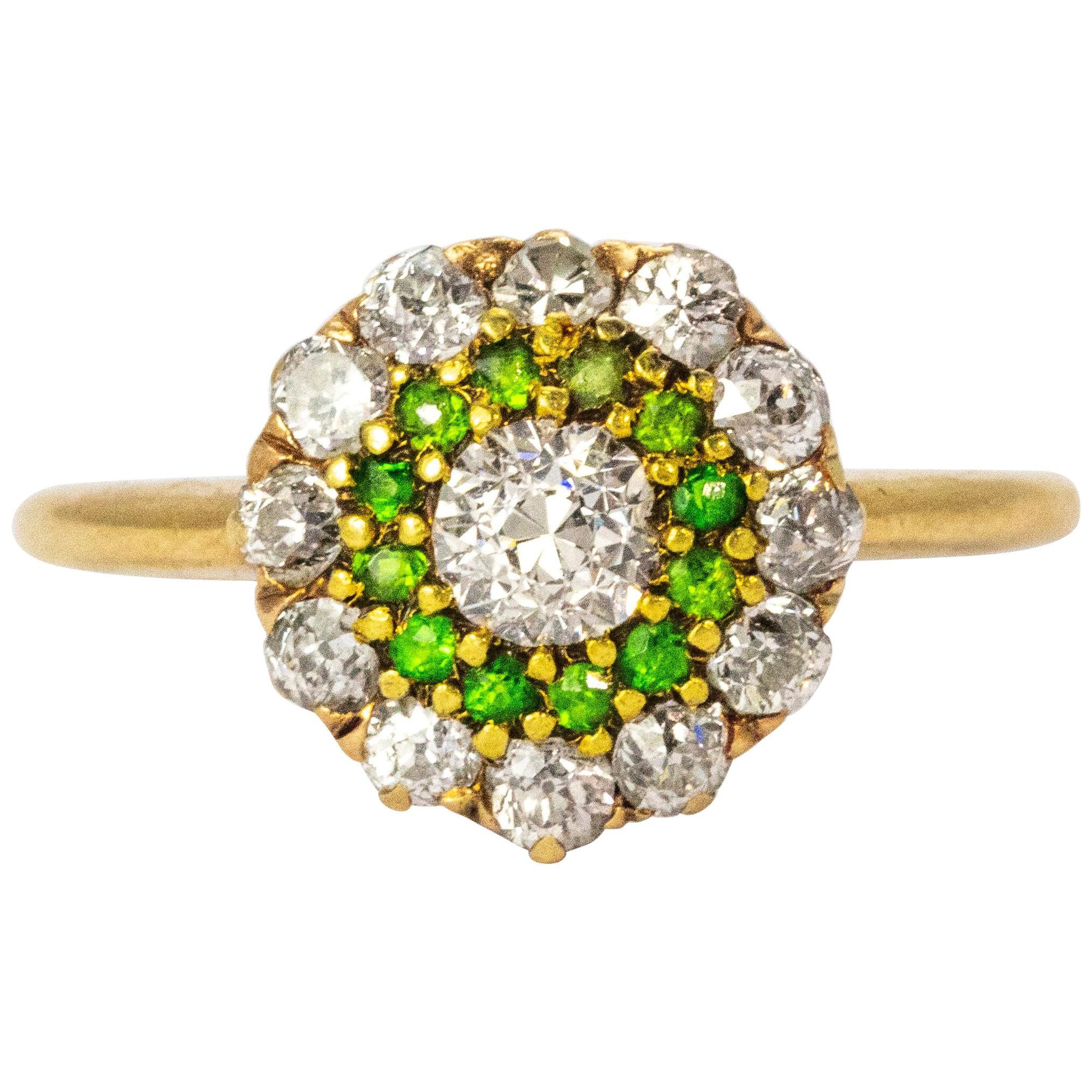 Vintage Diamond and Demantoid Garnet 18 Karat Gold Cluster Ring